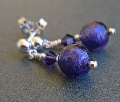 Murano glass earrings - Purple, Carina Short