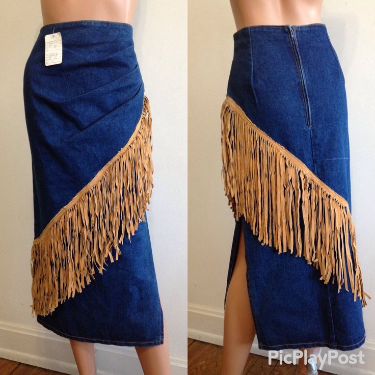 Vintage 1980's Phoenix USA Frontier Collection High Waisted Jean Skirt Suede Fringed Country Western Southwestern Cowgirl Jean Skirt Size M by millineryetc on Etsy