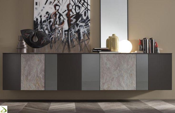 Madia design sospesa da soggiorno in pietra e legno