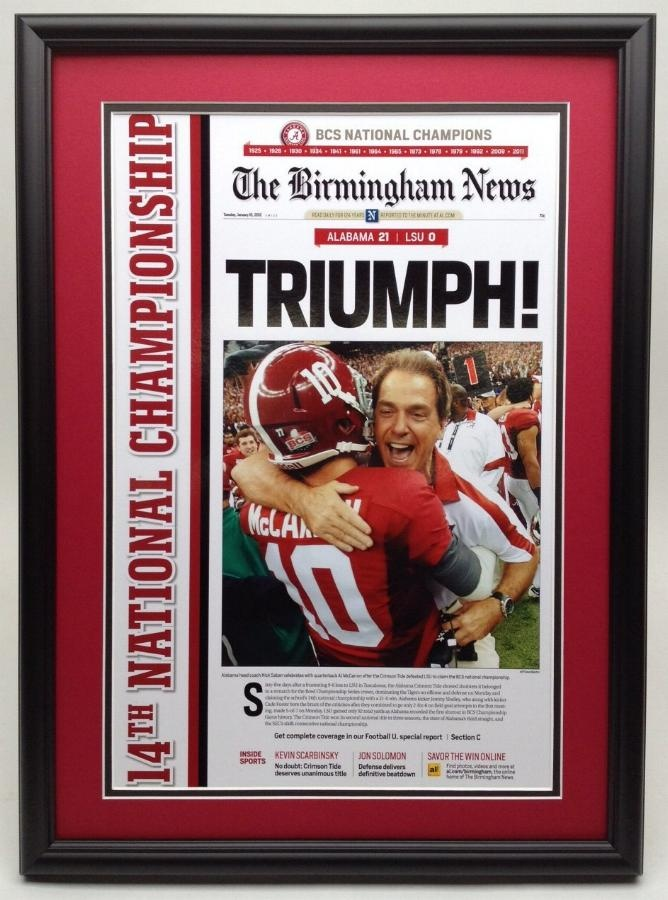 Daniel Moore prints, Thomas Kinkade Art, Alabama football pictures, Photography. - The Birmingham News front page National Championship framed poster