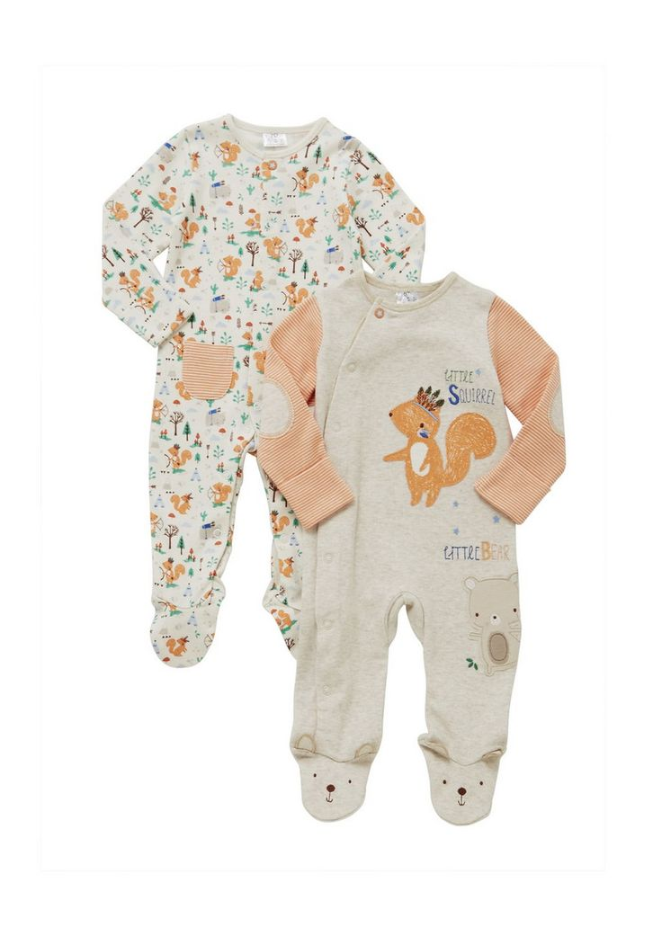 Clothing at Tesco | F&F 2 Pack of Woodland Friends Sleepsuits > nightwear > Baby Girls > Baby  10