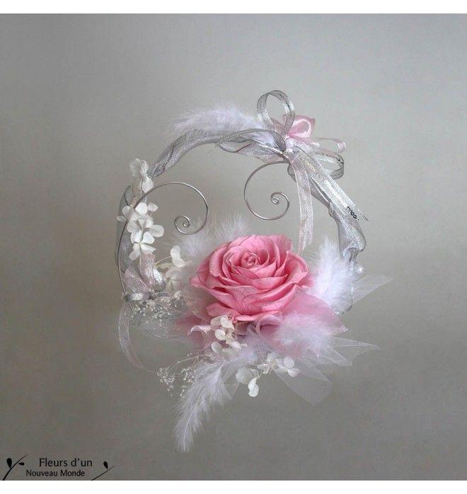 Porte alliances plume et rose