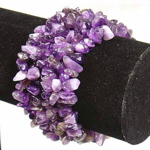 Amethyst Wide Style Chipped Gemstone Bracelet
