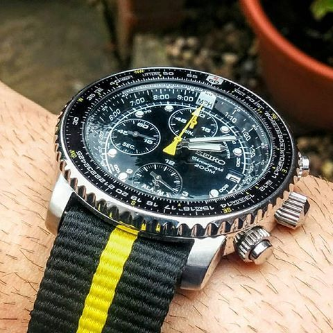 Seiko flightmaster on a yellow and black nato strap. Love the domed crystal on this watch. # ...