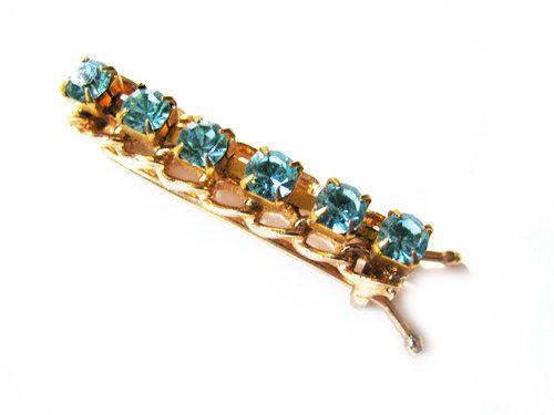 Vintage Turquoise Rhinestones Hair Clip Bridal by MyChouchou, $12.50