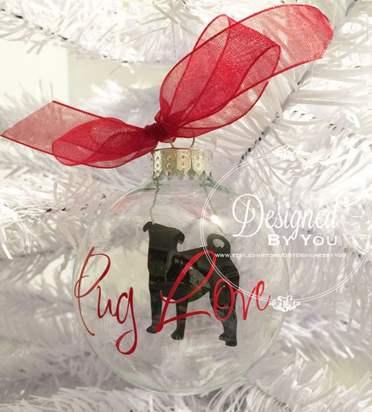 Every dog needs his or her own ornament on the family Christmas tree! Personalized Floating Pug Ornaments are PERFECT! A clear glass ornament with a silhouette of your dogs breed in the center. The or                                                                                                                                                                                 More