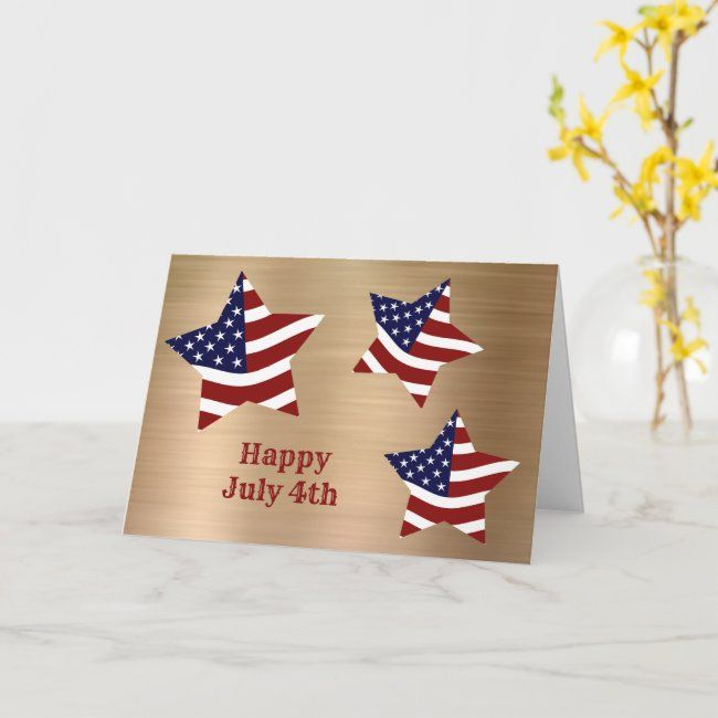 Red White Blue Flag Stars Gold July 4th Card Zazzle Com In 2020 Independence Day Card July Colors Vintage Business Cards Template