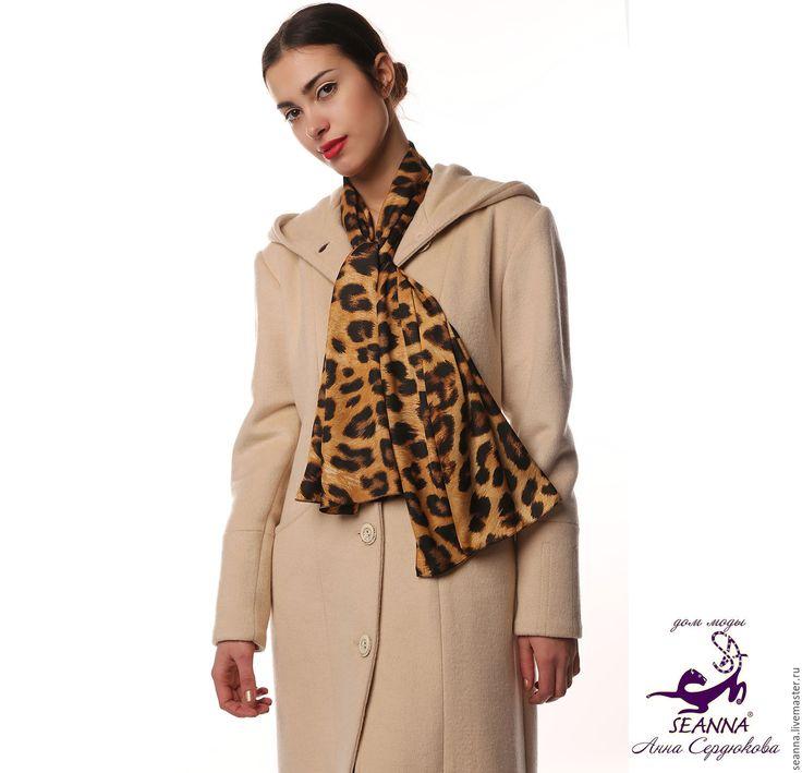 """Купить Платок, шарф """"Шелковый леопард"""" - платок, женский платок, шелковый платок"""