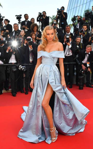 Swedish model Elsa Hosk in Alberta Ferretti with #deGRISOGONO jewels poses as she arrives on May 24 2017 for the screening of the film 'The Beguiled' at the 70th edition of the Cannes Film...