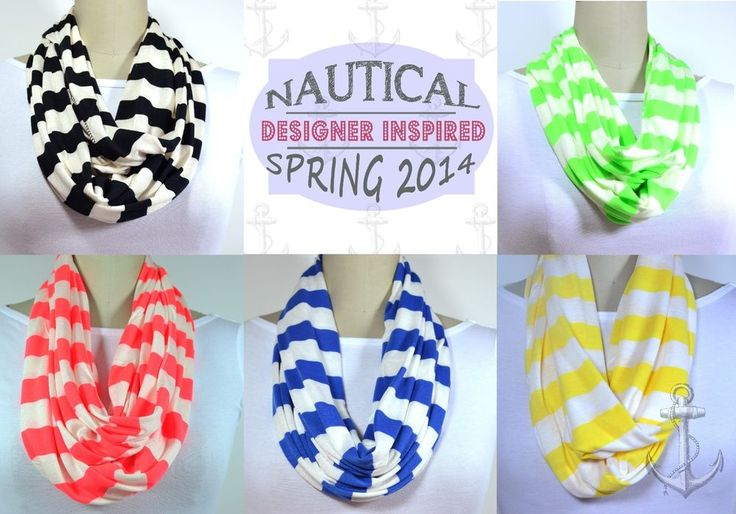Nautical Infinity Striped Scarf Designer Inspired Black, Neon Red, Green, Yellow