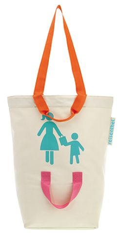 "Cute tote bag that has a handle for Mom/Dad and a handle for the kid, too! Neat way to allow a tiny bit of independence, but still ""hold hands"""