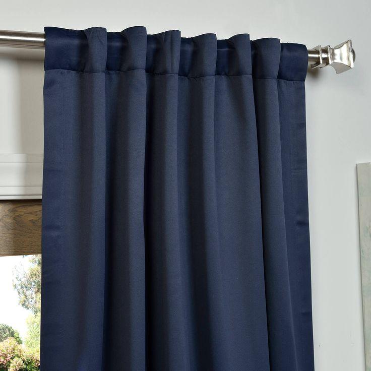 Pole Pocket Navy Blue Blackout Curtains & Drapes