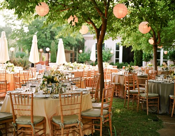 outdoor reception with paper lanterns