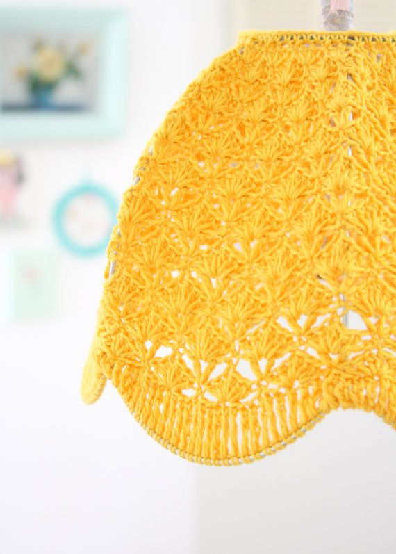 crochet lamp shade Mustard