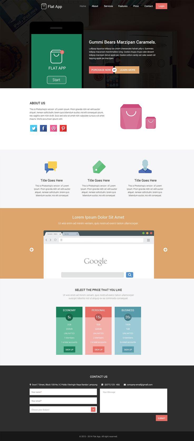 Flat app flat website template psd download web pinterest for Pinterest template psd