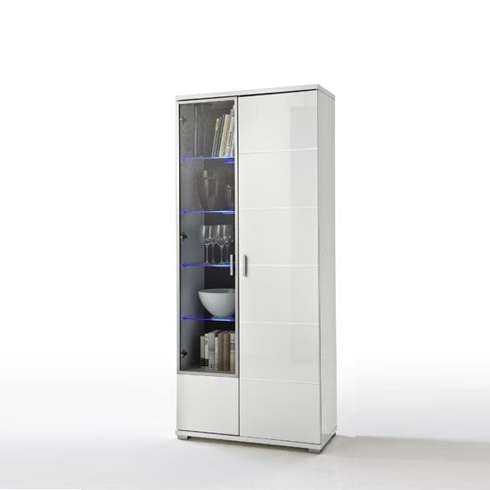 Lorano Display Cabinet In Glass And White Gloss With 2 Door - Display Cabinets, Modern, Oak, White, Furnitureinfashion