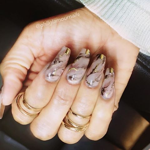 Nail inspiration! Love these nude marble nails ✨ I want this  Repost: @philglamournails #nails ...
