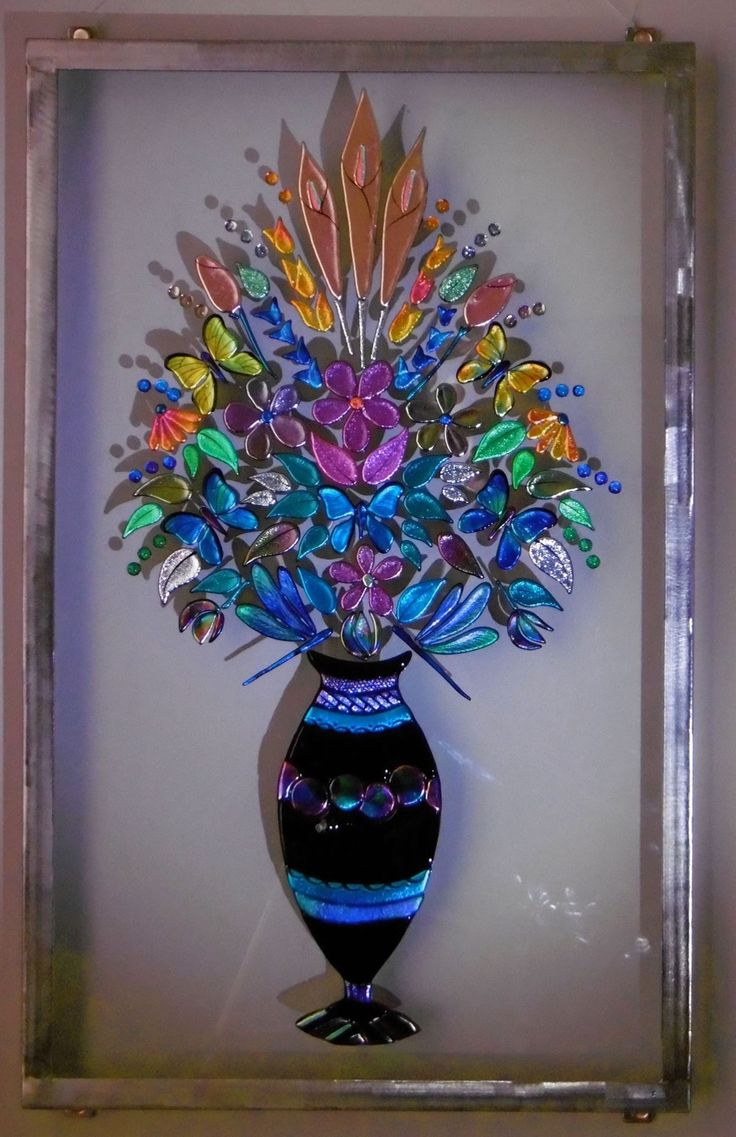 Seraphine - fused dichroic glass and stainless steel