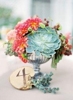 coral, mint  and aqua wedding flower arrangements | Succulent Wedding Centerpiece