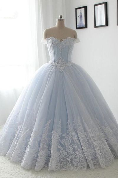 Light blue organza lace sweetheart A-line long dress,princess ball gown dress,376 from Happybridal
