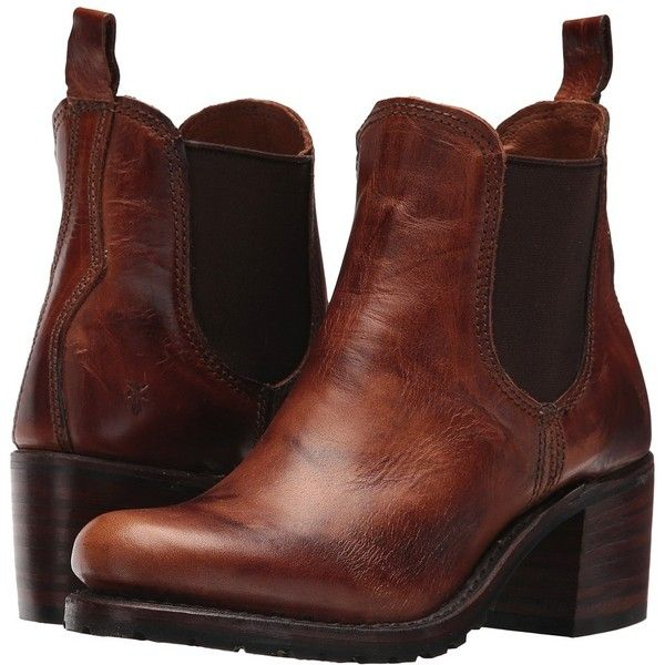 Frye Sabrina Chelsea (Cognac Oil Tanned Full Grain) Women's Pull-on... ($378) ❤ liked on Polyvore featuring shoes, boots, mid-calf boots, bootie boots, pull on boots, platform bootie, platform shoes and vintage ankle boots