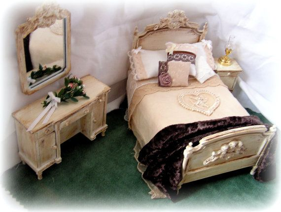 Dollhouse shabby chic bedroom furniture coffee and cream tones shabby chic bedroom furniture