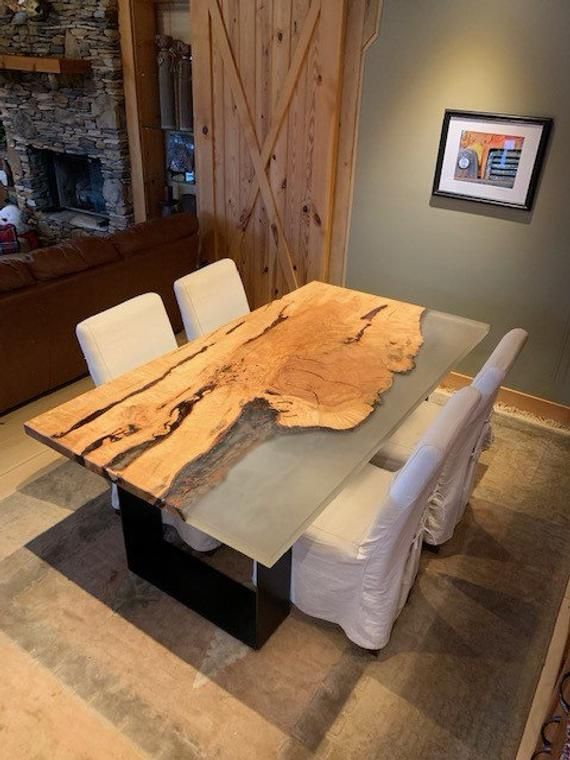 Maple River Table With Plate Base And Live Edge Dining Etsy Log Home Interiors Resin Furniture Dining Table Design