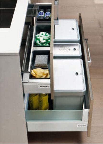 tiroir aménagé pour sous évier  cuisines  Pinterest