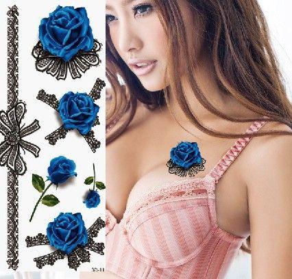 blauwe roos tatoeage