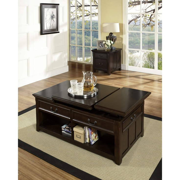 Steve Silver Furniture Franklin Lift Top Coffee Table Set In Multi Step  Rich Cherry