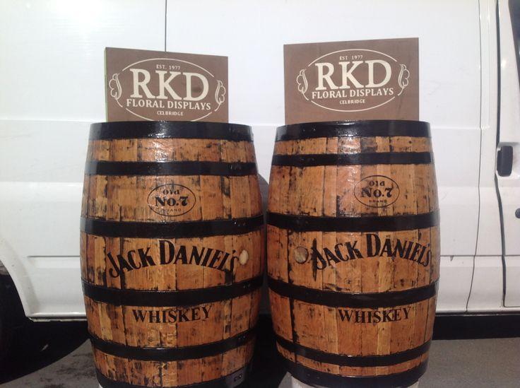 Jack Daniel's Whiskey barrels done by RKD Floral Displays
