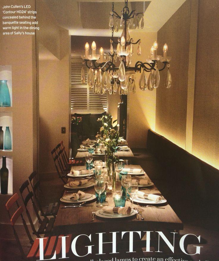 Lichtplan - kast naast haard in eetkamer, licht planken uit zoals hier Lichtstrip achter bank --> idee woonkamer in verlaagde gedeelte waar lounge bank komt