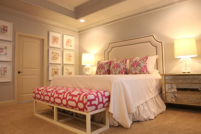 Fuchsia pop cushions master bedrooms and gray Pop in master bedroom