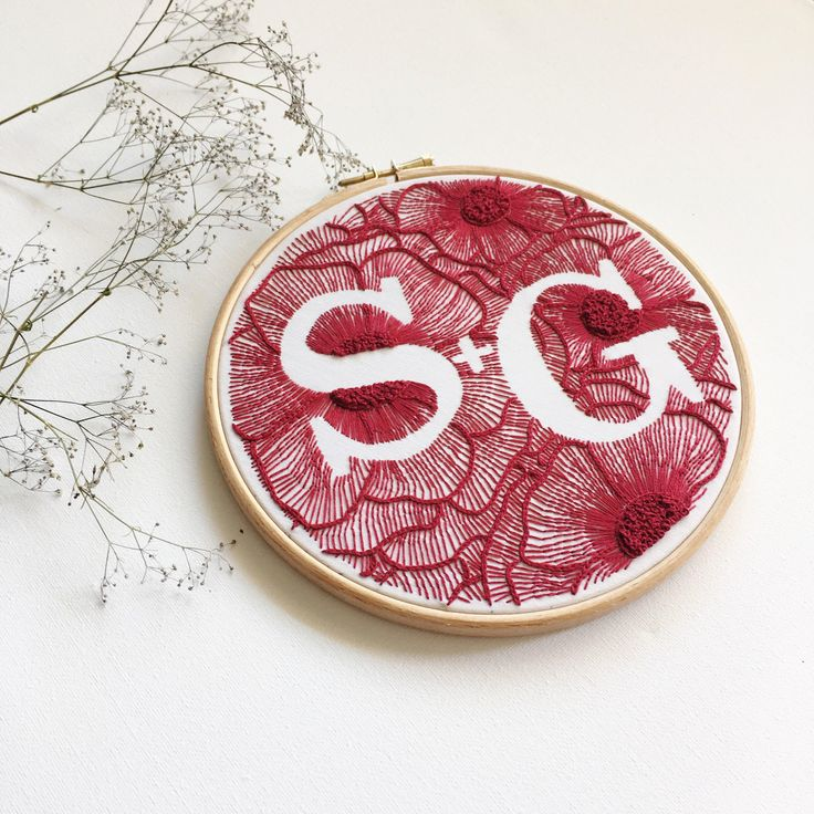 "Personalized Floral Wedding Hand Embroidery Hoop / Custom 7 ""Monogram Hand Stitched / Custom Hoop Art / Embroidered Gift Wall Decoration"