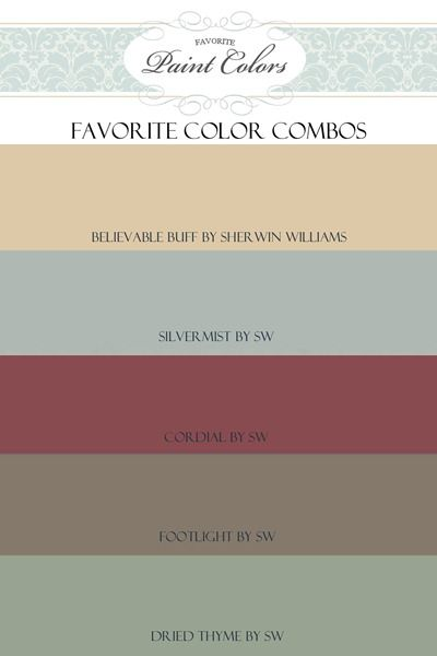 Favorite Paint Colors- combination for Believable Buff (my family room is painted this color)