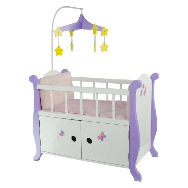 Teamson Kids Little Princess Baby Doll Nursery Bed with Cabinet - TD-0206A