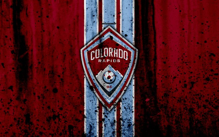 Download wallpapers 4k, FC Colorado Rapids, grunge, MLS, soccer, Western Conference, football club, USA, Colorado Rapids, logo, stone texture, Colorado Rapids FC