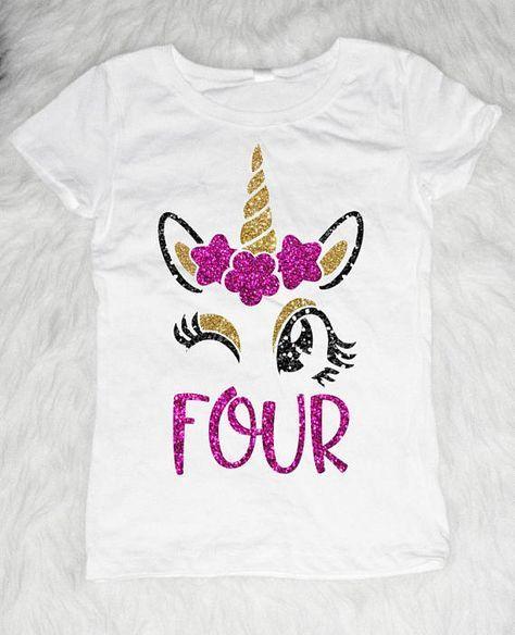 Four Unicorn Birthday Shirt Girl 4th