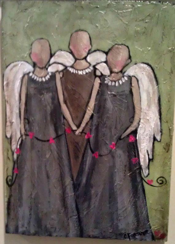 The Tie that Binds  Original Acrylic on Wood by SweetCarolineOrig, $125.00