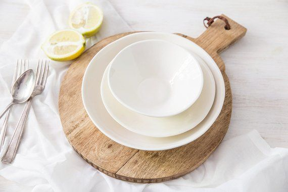 White Ceramic Dinnerware Set Main Course Plate Small Dinner Plate Dessert Or Soup Bowl Handmade Ceramic Dinner Set Pottery Gift Idea Ceramic Dinnerware Set Ceramic Dinner Set Ceramic Dinnerware