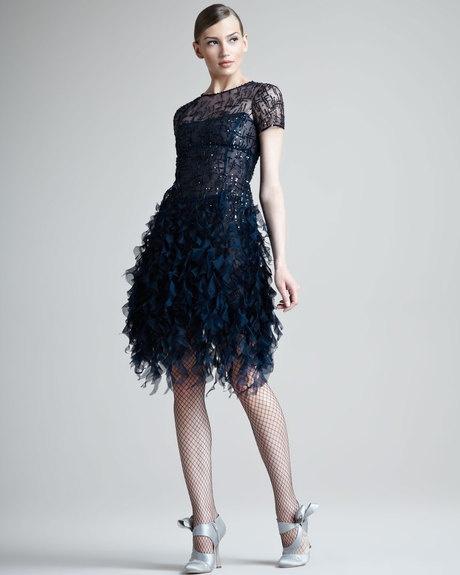 OSCAR DE LA RENTA Beaded Ruffled Dress