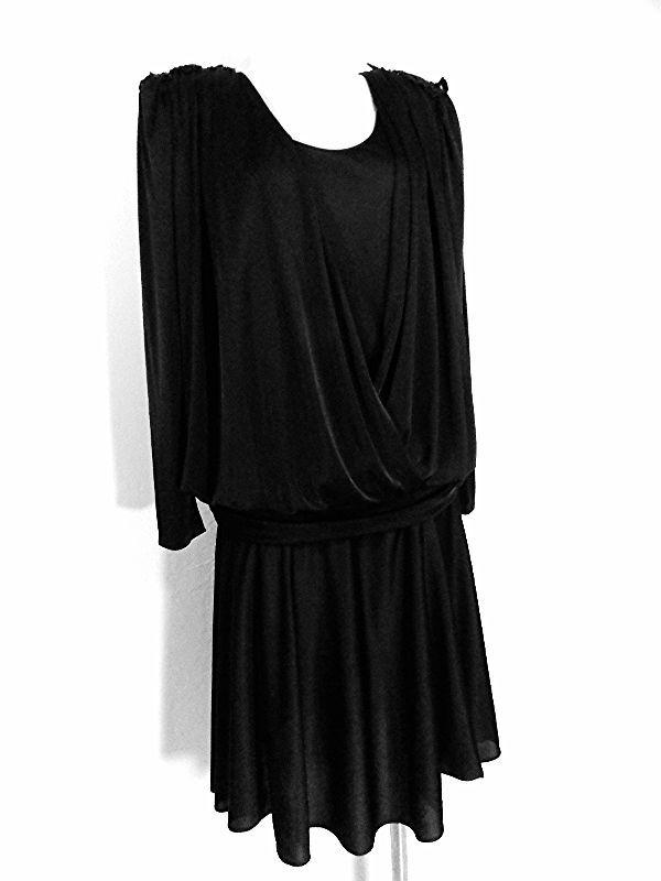 Draped Fluid Dress Size Large Flapper Drop Waist Vintage 80s Midi ...