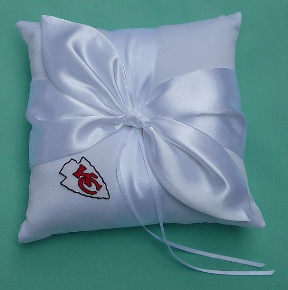 Wedding Ring Bearer Pillow, Flower Girl Basket, Bridal Garter Set - Kansas City Chiefs KC Football Themed