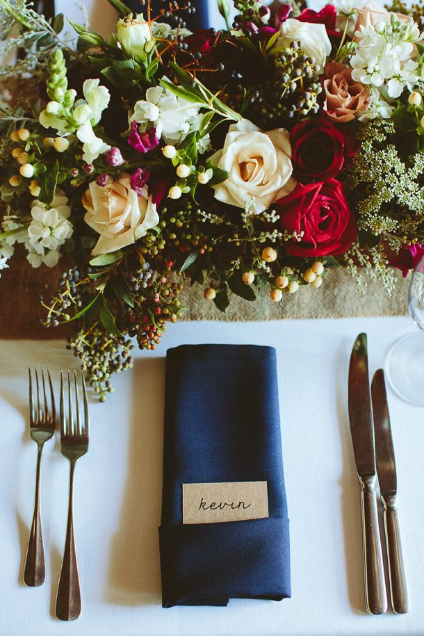 Rustic Jewel Tone Wedding Place Setting | SouthBound Bride | http://www.southboundbride.com/rustic-jewel-tone-wedding-at-roodezand-by-wrensch-lombard | Credit: Wrensch Lombard