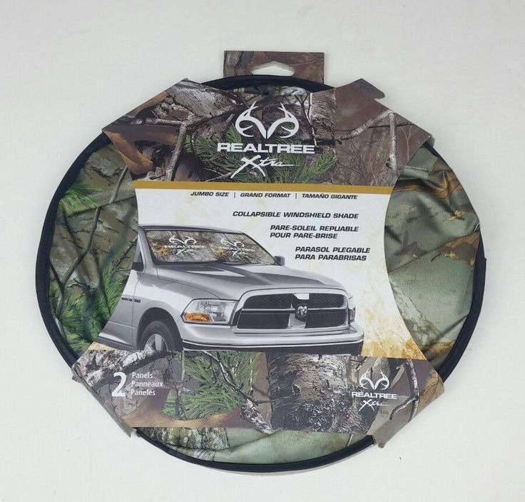 Realtree Collapsible Windshield Sun Shade Camouflage Camo 2 Panels UV Protect #Realtree