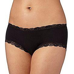 Debenhams - Black lace trim cotton shorts