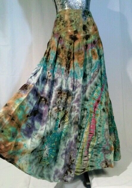 TIE DYE WRAP MAXI BOHO PEASANT BROOMSTICK SKIRT HIPPIE FREE SZ GYPSY LOG FULL  #PATANDESIGN #PeasantBoho