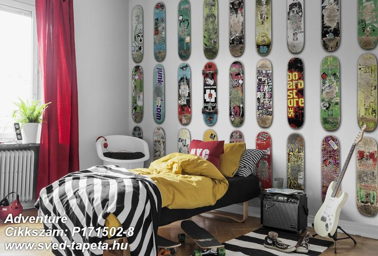 A skateboard says everything about its owner, and to the trained eye a skateboard can reveal what kind of tricks you've done on it. Together in a row they'll be an attractive LINE UP. ☞ #wall #decor #wallpaper #design #tapeta #foto #poster