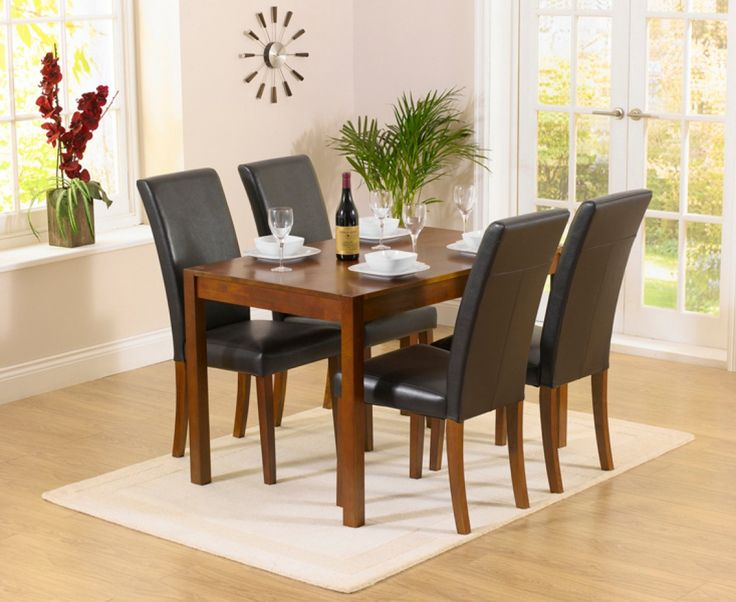 Oxford 120cm Dark Solid Oak Dining Table with Albany Chairs  The Great  Furniture Trading Company