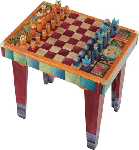 End Table W/ Chessboard